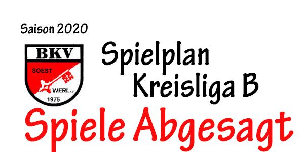 Spielplan Kreisliga B 2020